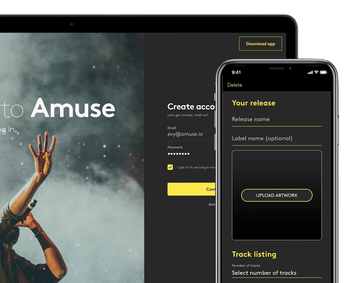 Music distribution app | Release your music for free - Amuse